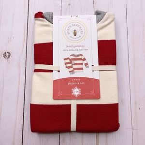 BURTs BEES Rugby Striped Pajama Set Red NWT 3-6M